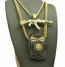 """NEW ICED OUT GOON SKI MASK, AK47 GUN PENDANT 24"""" & 30"""" CUBAN ROPE CHAIN NECKLACE"""