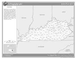 Kentucky State Counties Black White Laminated Wall Map Ebay