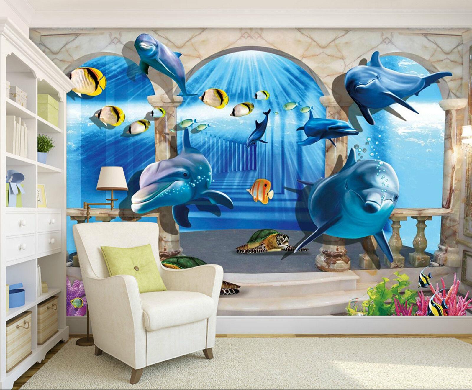 3D Dem Fenster 686 Fototapeten Wandbild Fototapete Bild Tapete Familie Kinder DE