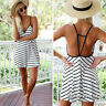 Women Ladies Strappy Backless Casual Loose Tops Boho Summer Beach Dress Sundress