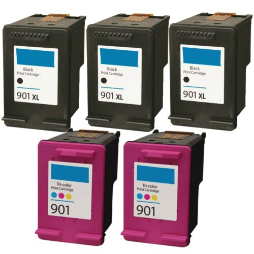 5 pk 901XL 901 Black /& Color Rem Ink Set For OfficeJet G510a G510g G510n 4500