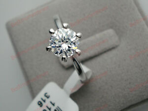 18K-White-gold-1-ct-Round-cut-Diamond-6-prongs-Solitaire-Ring-size-N