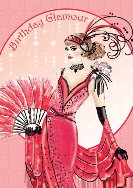 Art Deco Lady ~ Birthday Glamour  ~  Birthday Greeting Card NEW