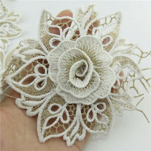 1-Meter-Embroidery-Fabric-110mm-White-Lace-Flower-Trims-Bridal-Applique-Sewing
