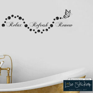 Wall Stickers Relax Refresh Renew Bubbles Bathroom Art Decals Vinyl Home Room Ebay