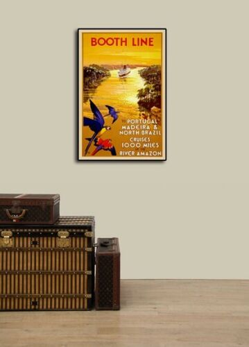 """16x24 1930s /""""Booth Line Amazon River Cruises/"""" Portugal Vintage Travel Poster"""