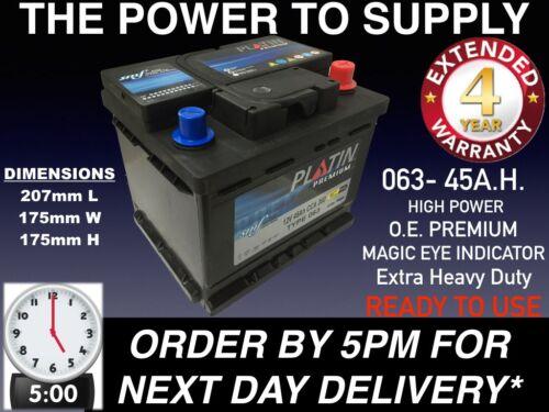 063 Batería De Coche 45AH 390CCA 12V 4 año de garantía Resistente 5PM entrega al día siguiente