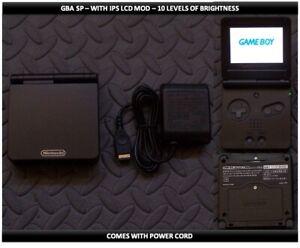 Nintendo Game Boy Advance GBA SP IPS MOD System 10 Level Brightness - Black