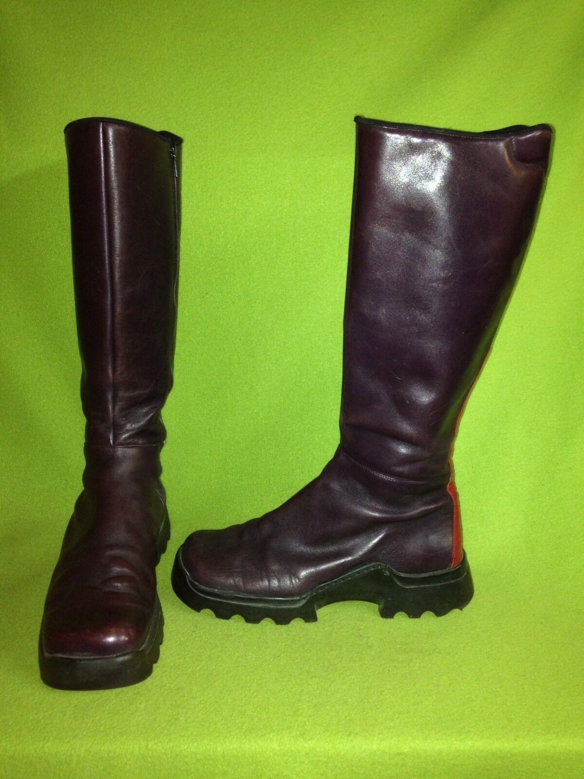 Purple Cinderella Knee-High Boots with Red Heel detail 9