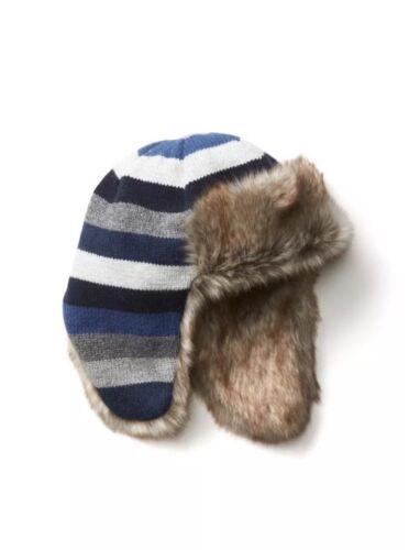Gap Baby Boy Blue Gray Crazy Stripe Faux Fur Trapper Hat Size S M Small Medium