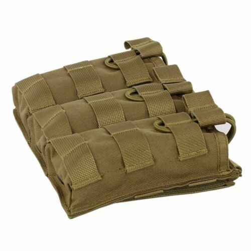 Military Tactical Molle Triple Mag Pouch Open Top 5.56  223 Magazine Holster Bag