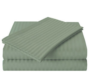 400TC Egyptian Cotton 1pc FITTED SHEET Custom Deep Pocket Percale Dune Stripe