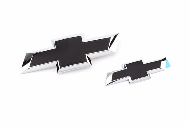 GM 23463800 Front and Rear Black Bowtie Emblem Package New
