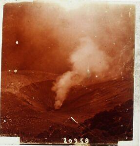 Italia Napoli Vesuvio Grand Cratere, Foto Stereo Placca Lente Ca 1910