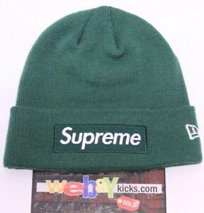 2e1f221ddd3 Supreme New Era New York Box Logo Dark Green White Logo Beanie Hat ...