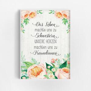 Details Zu Schwester Geschenk Spruch Bild Blumen Shabby Chic Familie Wandbild Poster Deko