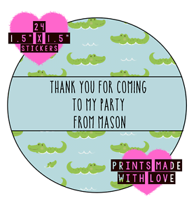 personalised crocodile 24 party bag stickers sweet cone labels thank