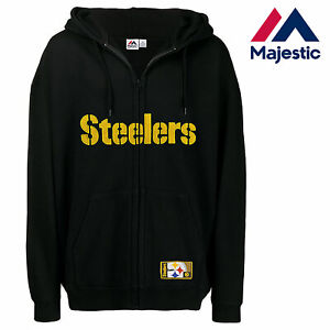 new style a23e7 df5fe Details about New Majestic, Big & Tall NFL Pittsburgh Steelers Full-Zip  Hoodie In Black