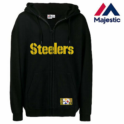 pretty nice fa6de c3960 New Majestic, Big & Tall NFL Pittsburgh Steelers Full-Zip Hoodie In Black |  eBay