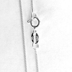"Genuine Italian 925 Sterling Silver 0.8mm Box Thin Chain Necklace 16/"" 18/"" 20/""24/"""