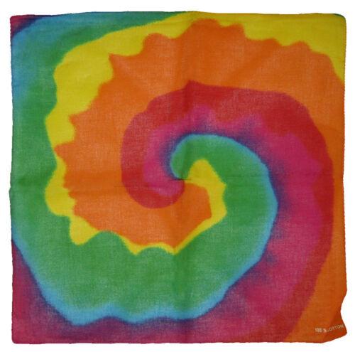 "22/""x22/"" Rainbow Multi-color Swirl 100/% Cotton Bandana"