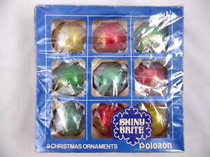 image is loading shiny brite vintage set 9 poloron glass red - Teal Christmas Ornaments