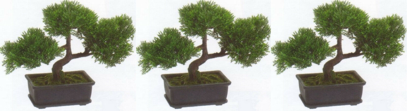 3 ARTIFICIAL 9  TEA LEAF BONSAI TREE TOPIARY IN OUTDOOR PLANT POOL PATIO HOME