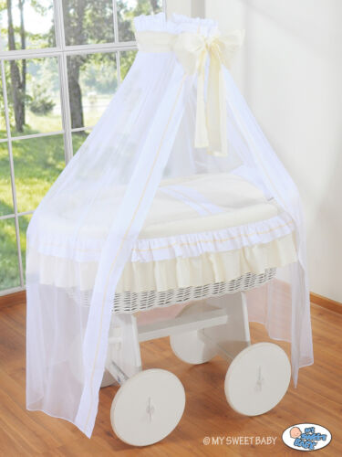 MATTRESS AND BEDDING SET NEW DESIGN WHITE WICKER CRIB MOSES BASKET WITH DRAPE