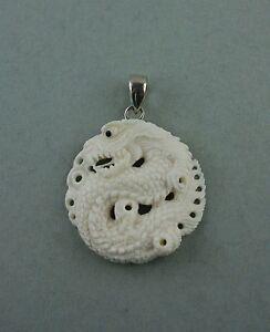 Genial Bone Carving Drache Drachen Büffelknochen Sterling Silber Duftendes (In) Aroma