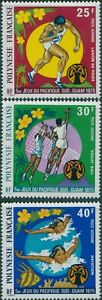 French-Polynesia-1975-SG200-202-South-Pacific-Games-set-MNH