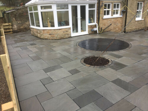 PRICE INCLUDES VAT 18-25mm Grey Indian Sandstone Paving Patio Slabs