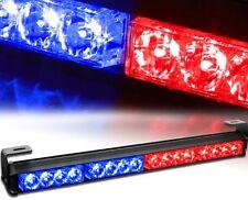 16 LED Red & Blue Emergency Warning Light Bar Traffic Advisor Strobe Flash Lamp