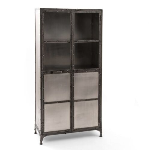 "71/"" H Industrial iron Cabinet 2 doors Antique nickel finish 3 shelves Steel base"