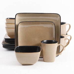 Image is loading Square-Dinnerware-Set-16-Piece-Taupe-Stoneware-Kitchen-  sc 1 st  eBay & Square Dinnerware Set 16 Piece Taupe Stoneware Kitchen Banquet ...