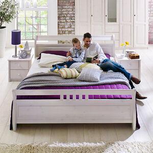 massivholzbett 180x200 r gen bett doppelbett landhaus kiefer massiv wei ebay. Black Bedroom Furniture Sets. Home Design Ideas