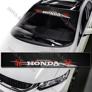 HONDA Racing Front Window Windshield Carbon Fiber Vinyl Banner - Front window stickers for car