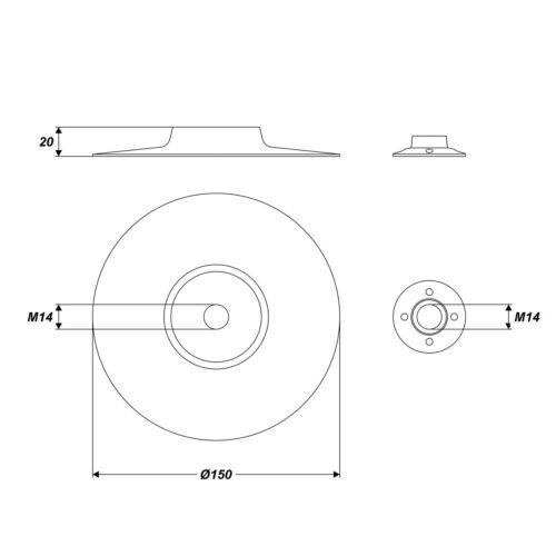 Ø 150 x 8 mm élastique plateaux Support m14 avec adaptateur pour perceuse