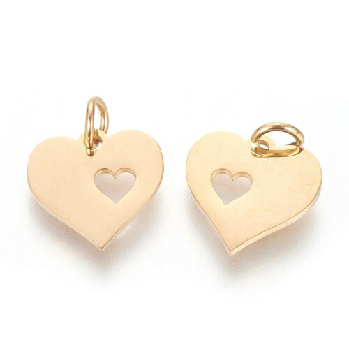 5 pcs Golden 304 Stainless Steel Heart with Heart Pendants Charms 12x12.5x1mm