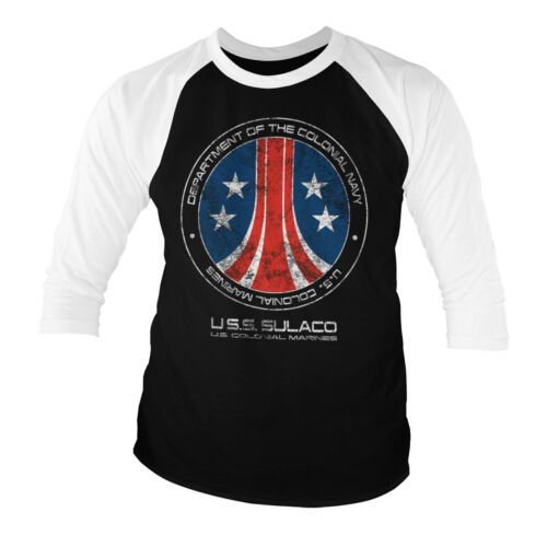 Officially Licensed Aliens USS Sulaco 3//4 Sleeve Baseball T-Shirt S-XXL