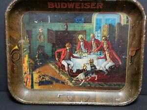 BUDWEISER-BEER-TRAY-HUNTING-DOGS-AFTER-FOX-HUNT-FIREPLACE-HORN-RED-COATS-1930-039-S