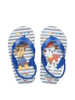 Paw Patrol Toddler Boys Blue Graphic Rescue Dogs Flip Flops Size 7-8