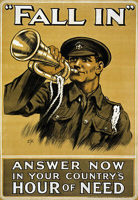 WA76 Vintage WWI Fall In British Army War Recruitment Poster WW1 Re-Print A4