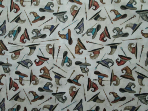 WITCH HATS BROOMS WITCHES CREAM COTTON FABRIC BTHY