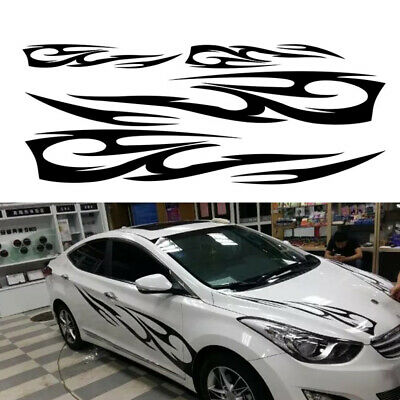 2Pcs Black Flame Graphics Car SUV Decal Vinyl Graphics Side Body Stickers Decals