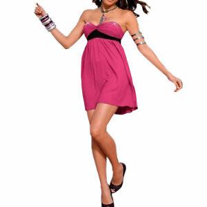 genial-sexy-MINI-KLEID-Abendkleid-Party-Gr-32-XS-Stretch-BANDEAU-PINK
