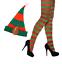 Erwachsene-Damen-Sexy-Weihnachten-Elf-Kostuem-gestreifte-Strumpfhose-amp-Hut-Combo