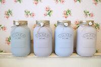 Vintage Shabby Chic Painted Kilner Mason Jar Vase Rose Farmhouse Home Decor