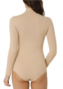 Kefali Womens Long Sleeve Turtle Neck Bikini Back Bodysuit Underwear Beige Top