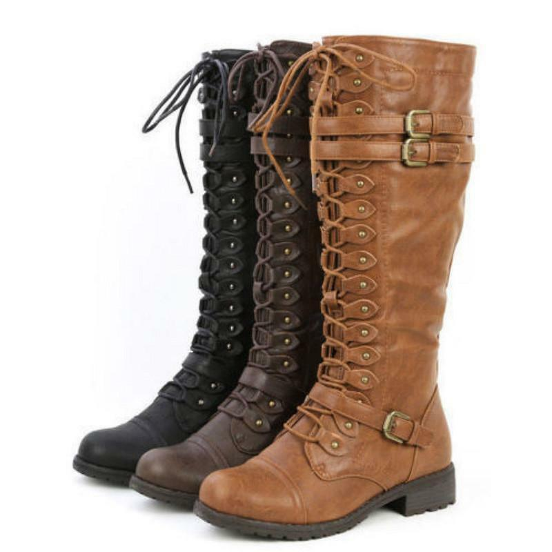Women Knee High Lace Up Buckle Military Combat Riding Boots PU-Leather Shoes Sz