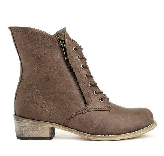 JustFab Womens Taupe Aaminah Twin Zip & Lace Fastening Ankle Boots